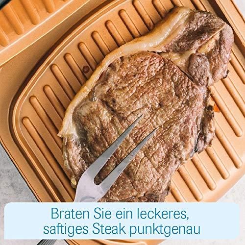 MediaShop Livington Low Fat Grill – kompakter Kontaktgrill für fettarmes Grillen – Elektrogrill mit Antihaft-Keramikbeschichtung und Fettablauf - 6