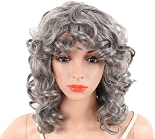 BeatyWig Short Grey Curly Fashion Wig Synthetic Slightly Fluffy Curly Wavy Lace Front Half Hand Tied Wigs High Temperature Fiber Hair for Women Lady