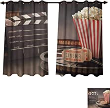 RuppertTextile Movie Theater Bedroom Thermal Blackout Curtains Old Fashion Entertainment Objects Related to Cinema Film Reel Motion Picture Drapes for Living Room Multicolor W55 x L45 inch