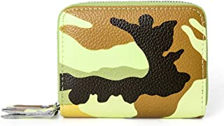 Camouflage Leather Card Holder Multi-Function Double Zipper Credit Card Holder RFID Anti-Theft Card Package ID Package (Color : Yellow, Size : S)