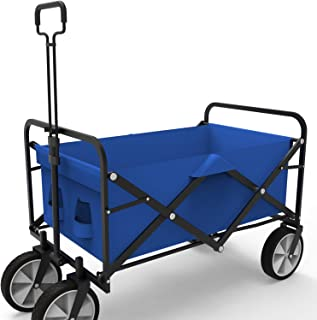 Wagon Collapsible Cart Camping Beach Garden Truck Utility Buggy Grocery Folding Wagon Outdoor Blue