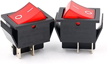 Baomain Soken Red Light DPST ON/Off Snap in Boat Rocker Switch 4 Pin 16A/250V UL TUV List 2 Pack