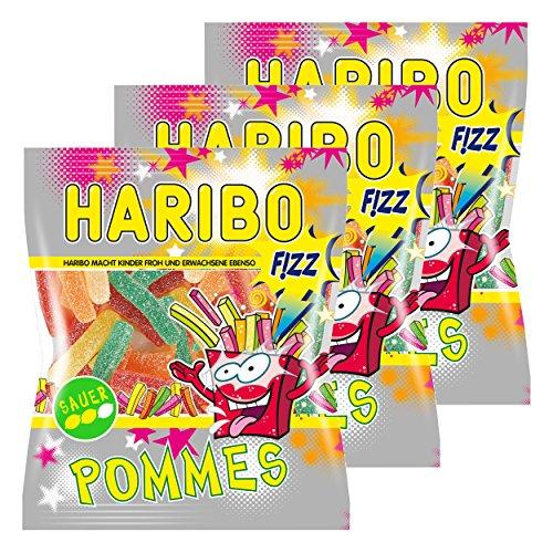 Haribo Saure Pommes, 3er Pack, Gummibärchen, Weingummi, Saures Fruchtgummi Sauer, Im Beutel, Tüte