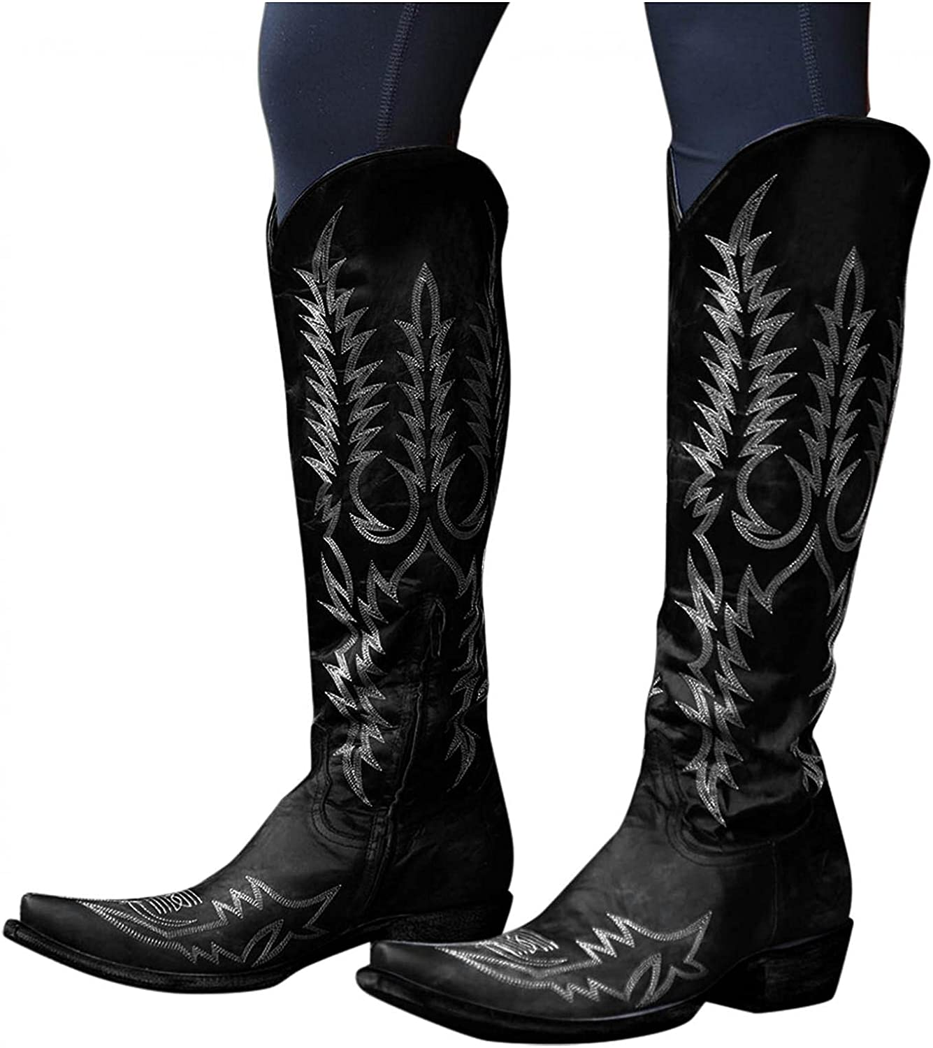 Women's Cheap mail order shopping Cowboy Boots Chunky Department store Low Cowgirl Platform Heel Kn Vintage