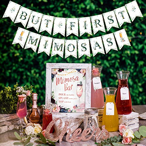 Rustic Boho Mimosa Bar Kit - Vintage Floral Bohemian Champagne Brunch Decor with Pink Burgundy Flowers Lace Rose Gold Bridal Shower Decoration Supplies Baby Girl Birthday Bubbly Banner Sign Set (Boho)