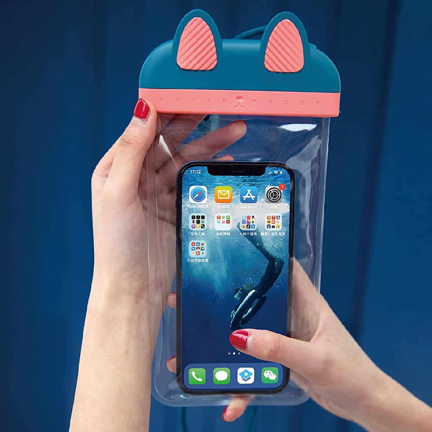 Cute Waterproof Phone Pouch - Clear Waterproof Bag,Waterproof Case,Foldable Anti-Sinking IP68 Floating Air Cell Phone Dry Bags with Hanging Strap for Swimming (Blue)