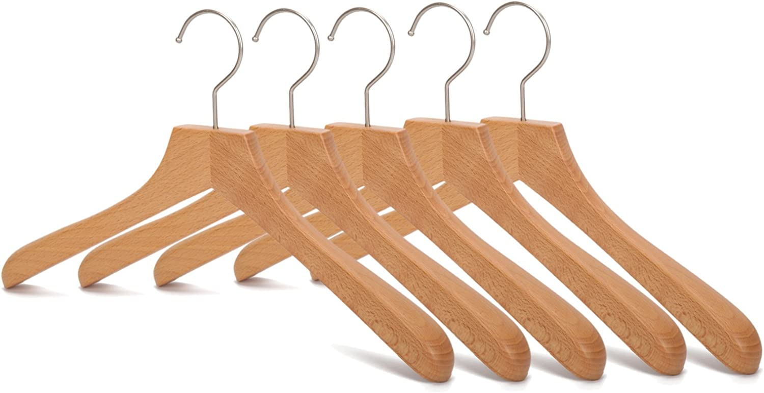 J.S. Hanger Sturdy Wooden Coat Hangers with Anti-Rust Hook, Natural Finish, 5 Pack