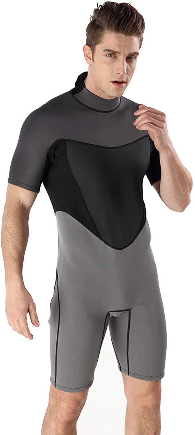 WUAI Mens Wetsuits Short Sleeve 2MM Neoprene Wetsuit Shorty Jumpsuit