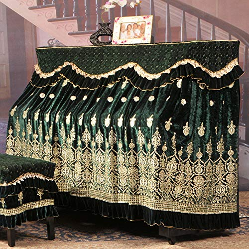 Review Of Fashion Piano Cover Ice Silk Korean Fleece Embroidery Piano Full Cover Fabric Lace Embroidery Dustproof Cloth with Stool Cover (Color : Green, Size : 76x36cm)