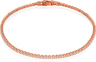 Rose Gold Bracelet. Fashion Inlaid zircon Bracelet, K Gold Plated 2.0 Round Cubic Zirconia Classic Geometric Tennis Romant...