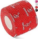 WARM BODY COLD MIND Cinta de levantamiento de pesas premium Hookgrip para levantamiento de pesas y crossfit, cinta elástica de algodón para crossfit, resistente al sudor y transpirable (Rojo 6 Rollos)
