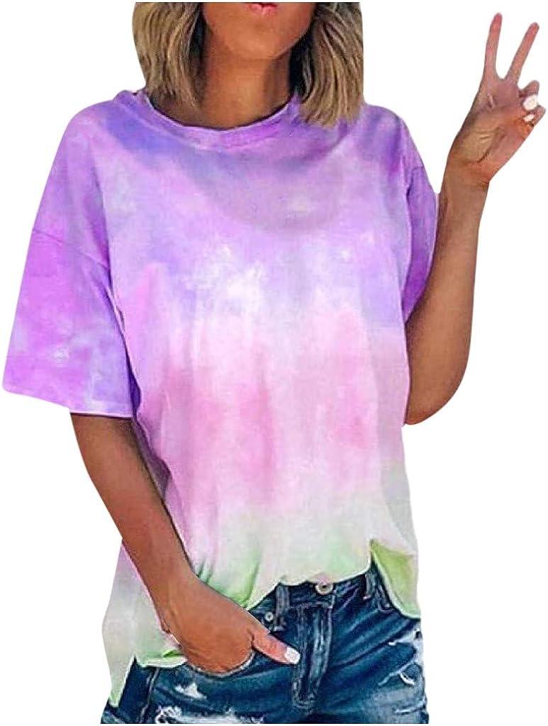 FABIURT Womens Short Sleeve Tops,Women Fashion Gardient Printed T Shirt Summer Loose Casual Colorblock Tunic Blouse Tops