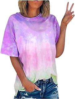 Women Tie-Dye Short Sleeve Tops, Ladies Summer O-neck T-shirt Blouse Pullover Top