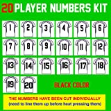 Team Pack Numbers,8' Tall,1-20 consecutively(31 Pieces) Heat Transfer Vinyl Numbers,for Sports T-Shirt Jersey Football Baseball,Iron On,t-Shirt,Same Your time & Money(Style A)(Black)