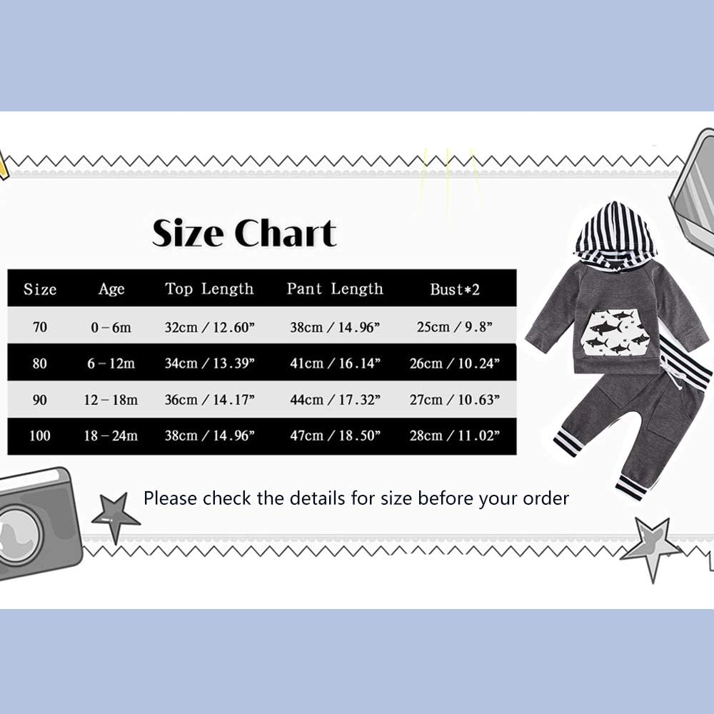 Infant Baby Boys Sweatshirt Set Clothes Long Sleeve Hoodie Tops Pants Outfit Set 0-24M