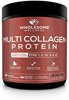 Multi Collagen Protein Powder Hydrolyzed (Type I II III V X) Grass-Fed All-in-One Super Bone Broth + Collag...