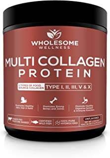 Wholesome Wellness Multi Collagen Protein Powder Hydrolyzed (Type I II III V X) Grass-Fed All-in-One Super Bone Broth + Collagen Peptides - Premium Beef, Chicken, Wild Fish, Eggshell Collagen