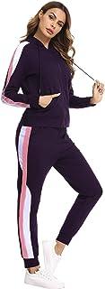 Hawiton Tuta Sportiva Donna Invernale con Cappuccio e Cerniera, Cotone Kit Tuta da Ginnastica Donna con Felpa e Pantaloni ...