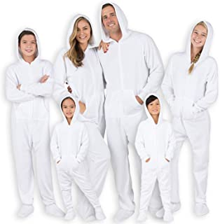 Footed Pajamas - Family Matching Frosted White Hoodie Onesies for Boys, Girls, Men, Women and Pets