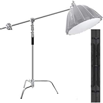 EACHSHOT C Stand Heavy Duty 100% Metal Max 10.8ft/330cm with 4.2ft/128cm Holding Arm Adjustable Light Stand cStand w/Boom Arm 2 Pcs Grip Head for Photography Photo Studio Video Reflector Monolight
