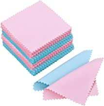 PORTOWN 100 Pack Jewelry Cleaning Cloth Polishing Cloth for Sterling Silver Gold Platinum (Pink and Blue)