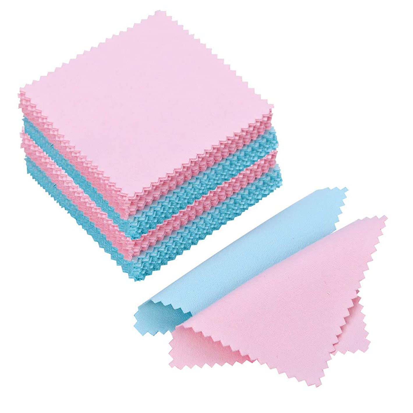 PORTOWN 100 Pack Jewelry Cleaning Cloth Polishing Cloth for Sterling Silver Gold Platinum (Pink and Blue) m92444603105033