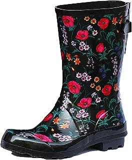 Ladies Fun Garden Printed Waterproof Rubber Mid Calf High Cute Rain Boots for Women
