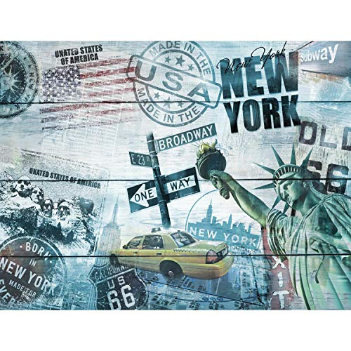 Runa Art Fototapete Holzoptik New York USA Modern Vlies Wohnzimmer Schlafzimmer Flur - made in Germany - Blau 9369010b