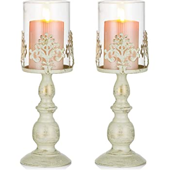 L+L Nuptio Pcs of 2 Vintage Metal Pillar Candle Holder Antique Hurricane Candlestick with Glass Screen Cover Accent Display for Home Wedding Candlelight Dinner Decoration