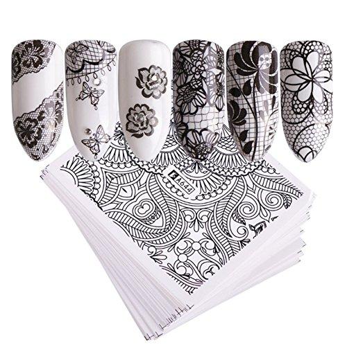 AIUIN 48 Piezas Pegatina de Uñas Diseño de DIY Negro Flor de Encaje Guías de Clavar Tip Pegatinas Conjunto con Uñas de Manicura
