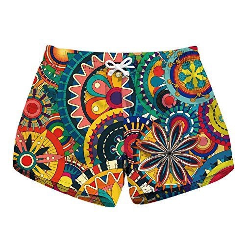 Honeystore Women's Casual Swim Trunks Quick Dry Print Boardshort Beach Shorts Multicolor M