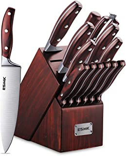 Knife Set, 15-Piece Kitchen Knife Set with Block Wooden, Manual Sharpening for Chef Knife Block Set, German Stainless Steel, ESMK (15 PCs Knife Block Set)