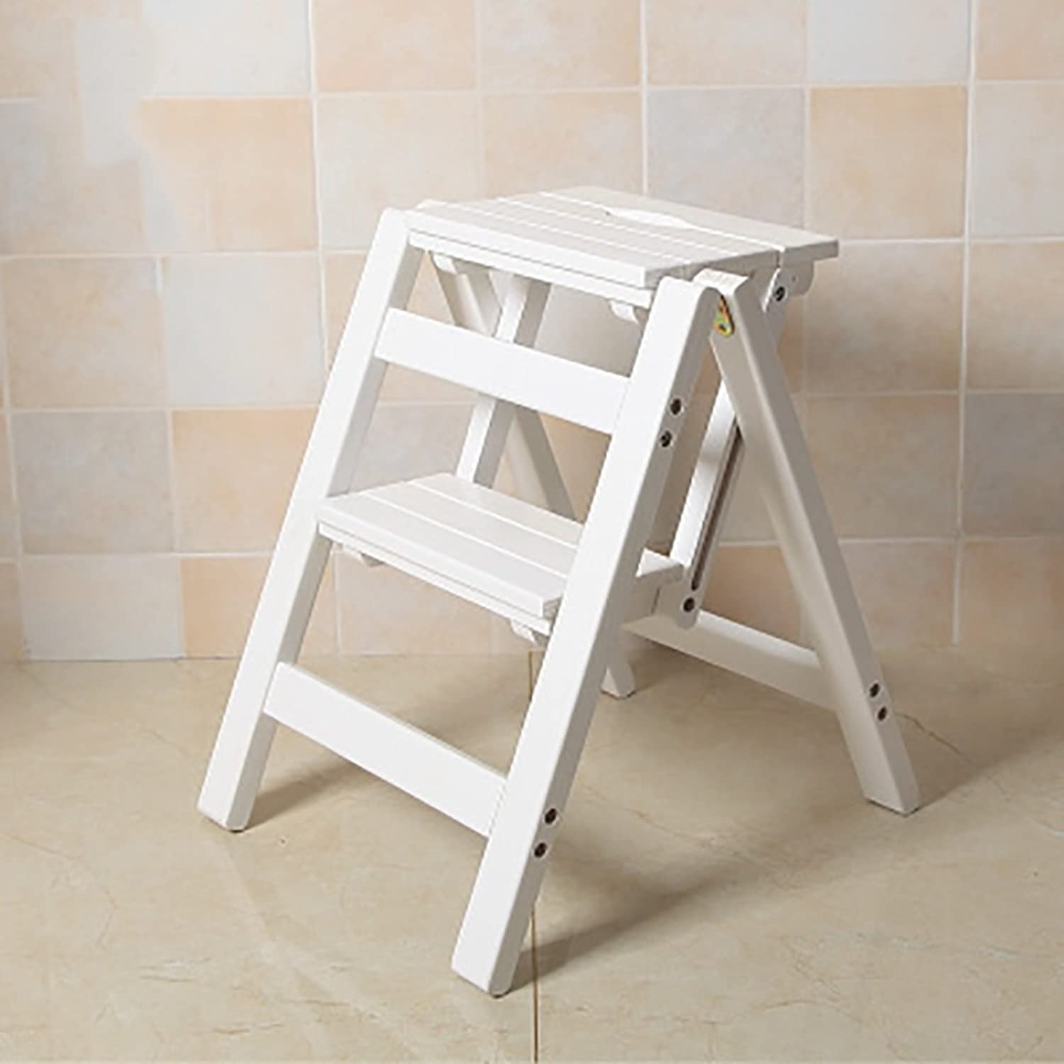 GAIXIA-Ladder stool 2-Step Folding Wooden Step Stool, Portable Step Ladder Ladder Multi-Function Household Kitchen Bathroom Office Furniture Ladder Chair (color   White)