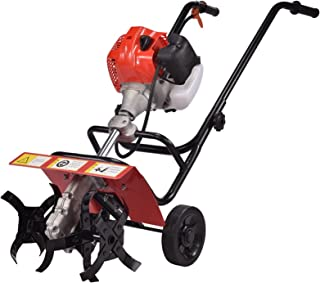 QILIN Garden Cultivator, 2-stroke/4-stroke Gasoline Tillage Machine, Small Household Micro-tiller, Tillage Width 36CM, Sof...