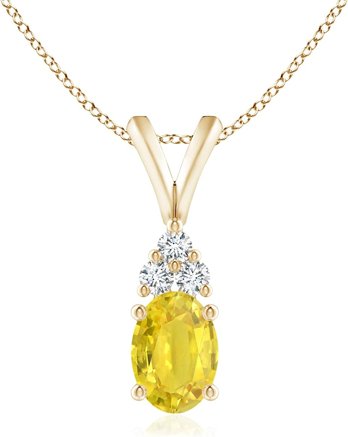 Oval Yellow Beauty products Sapphire Solitaire Pendant with Trio Quantity limited in 14K Diamond
