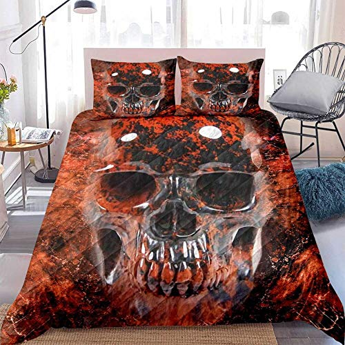 Red Mahogany Obsidian Skull 3D Bedding Cover Set - Printed Duvet Cover Ultra-Soft Polyester Fabric Duvet Cover with Matching Pillow Cover Decor for Adult Men, Women