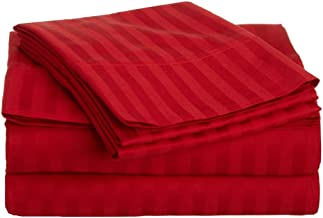 Superior 300 Thread Count 100% Premium Combed Cotton, 4-Piece Bed Sheet Set, Deep Pocket, Single Ply, Sateen Stripe, Queen - Red