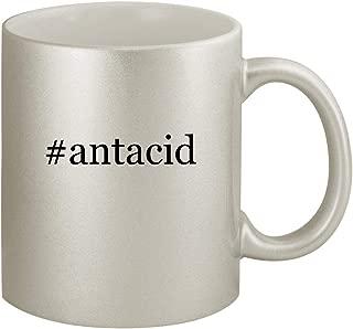 #antacid - Ceramic Hashtag 11oz Silver Coffee Mug, Silver