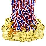 BJ-SHOP Medallas Ninos,Medallas Deportivas Premios plasticos de Oro para los ninos Fiesta Deportiva del Dia Recompensa tematica olimpica(24 Pcs)
