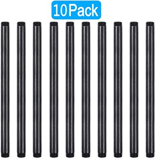 GOOVI 1/2 Inches x 12 Inches Black Malleable Steel Pipe Fitting, 1/2 Inches Black Pipe Threaded Pipe Nipples, Build Vintage DIY Shelving Steampunk Furnitur, 10 Pack.