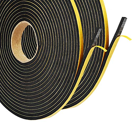 Foam Seal Tape,Weather Stripping for Door and Window Insulation,2 Rolls 1/4in Wide x 1/8 T Seal Strip,Closed Cell Single Sided Adhesive Window Seal,Total 32FT