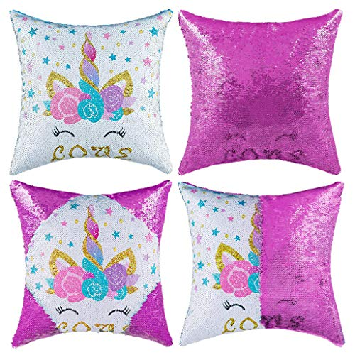 Tumao Funda cojín Unicornio, Magic Sequin Cushion Reversible Funda de Almohada Doble Color Piel de Venado en la Espalda 40 * 40 cm Sofá Decoración del Hogar para Regalo de Niños