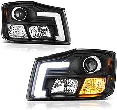 [For 2004-2015 Nissan Titan & 2005-2007 Armada] OLED Neon Tube Black Housing Projector Headlight Headlamp Assembly, Driver...