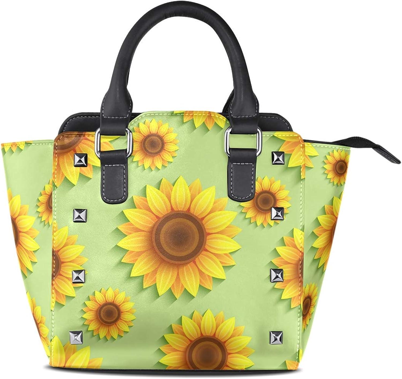 My Little Nest Women's Top Handle Satchel Handbag Beautiful Summer Sunflowers Ladies PU Leather Shoulder Bag Crossbody Bag