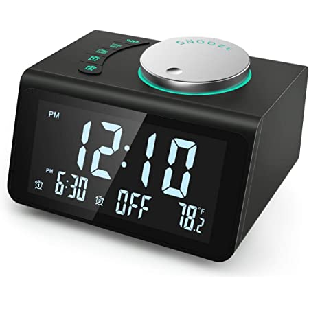 【2021 Newest】 ANJANK Small Digital Alarm Clock Radio - FM Radio,Dual USB Charging Ports,Dual Alarms with 7 Alarm Sounds,Adjustable Volume,Temperature,5 Level Brightness Dimmer,Battery Backup,Bedrooms