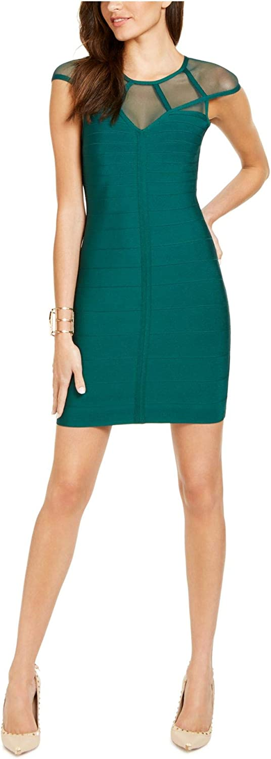 GUESS Womens Green Mesh Cap Sleeve Illusion Neckline Short Body Con Cocktail Dress Size