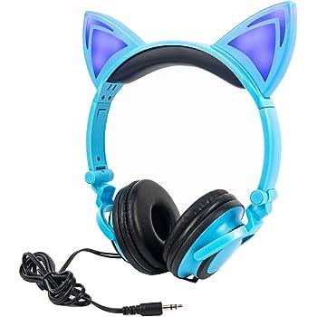 LIMSON Headphones Folding Enfants Casques, Sur Headset d'Oreille Avec LED Lumière Emettant Earphone Filaire Compatible avec Tablet PC, Apple et
