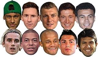 Star Cutouts Ltd SMP371 World Super Party 10 Máscaras Pack incluye Ronaldo, Aguero, Messi, Kroos, Lewandowski, Mbappe, Gri...
