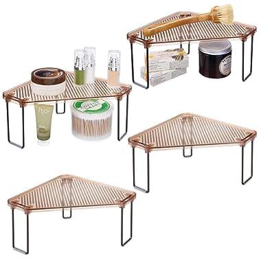 mDesign Corner Plastic/Metal Freestanding Stackable Organizer Shelf for Bathroom Vanity Countertop or Cabinet for Storing Cosmetics, Toiletries, Facial Wipes, Tissues, 4 Pack - Amber Brown/Bronze