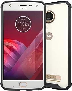 For Motorola Moto Z2 Play Transparent Shockproof TPU Protective Back Cover Case WBeiilcase (Color : Black)